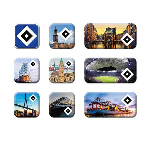 """HSV Magneten 9er-Set """"Hamburg"""""""